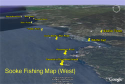 Sooke Fishing Map (West)