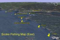 Sooke Fishing Map (East)